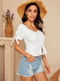 Tied Cuff Sweetheart Neck Peplum Blouse