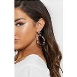 Brown Marble Effect Teardrop Shape Drop Hoops