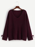 Grommet Lace Up V Neck Sweater