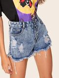 Ripped Raw Hem Single Breasted Denim Shorts