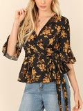 Botanical Print Bell Sleeve Knot Wrap Top