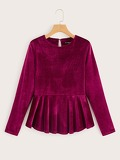 Round Neck Velvet Peplum Top