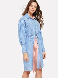 Button Through Belted Striped Dress