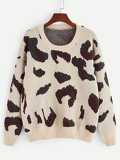 Drop Shoulder Leopard Jumper