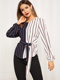 Two Tone Curved Hem Striped Top With Belt
