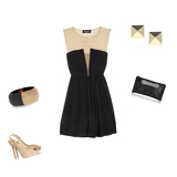 Lady silk-chiffon and stretch-jersey dress, shaw patent-leather pumps, bone and resin bangle, spike 14-karat gold stud earrings, textured-leather clutch