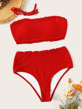 Frill Trim Ribbed High Wasit Bandeau Bikini Set