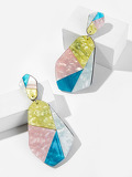 Color-block Geometric Drop Earrings 1pair