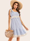 Striped Knot Detail Fringe Hem Dress