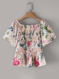 Floral Print Shirred Peplum Blouse