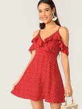 Ruffle Detail Cold Shoulder Polka Dot Dress