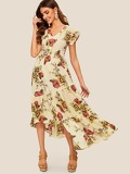 Floral Print Asymmetrical Hem Dress