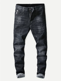 Men Letter Print Rolled Hem Jeans