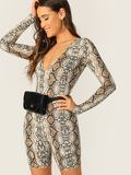 Snakeskin Print Plunging Unitard Romper Without Bag