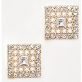 Crystal Diamante And Pearl Square Stud Earrings