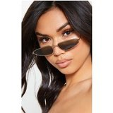Green Oversized Cat Eye Lens Gold Metal Frame Sunglasses