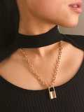 Lock Pendant Chain Necklace 1pc