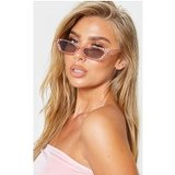 Pink Diamante Slim Cat Eye Sunglasses