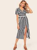 Asymmetric Buttoned Placket Split Dress With Belt