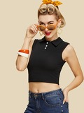 Button Detail Ribbed Crop Top