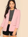 Shawl Collar Open Front Solid Blazer