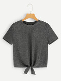Knot Front Glitter Tee
