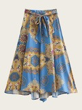 Tie Front Scarf Print Flared Skirt