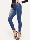 Bleach Wash Skinny Jeans Without Belted