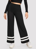 Elastic Waist Ribbed Knit Striped Pants