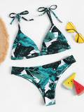 Random Palm Print Self Tie Bikini Set