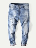 Men Rolled Hem Wash Destroyed Jeans