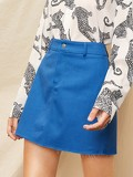 Raw Hem Solid Skirt