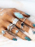 Heart & Flower Design Ring Set With Turquoise 8pcs