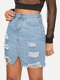 Ripped Raw Hem Denim Skirts