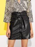 Button Up Faux Leather Skirt With Belt