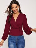Plunging Neck Surplice Neck Top