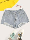 Frayed Hem Button Front Denim Shorts