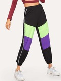 Neon Color-block Letter Tape Side Pants