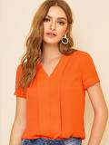 Neon Orange Pleated Placket Cuffed Sleeve Top