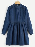 Keyhole Back Frill Denim Dress