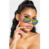 Black Multi Rainbow Effect Revo Lens Aviator Sunglasses
