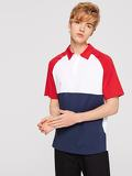 Men Color-block Raglan Sleeve Polo Shirt