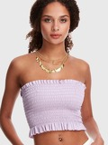 Frill Trim Solid Shirred Bandeau Top
