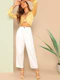 Buttoned Front Straight Leg Pants