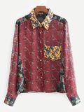 Pocket Front Scarf Print Blouse