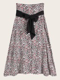 Self Tie Leopard Print Skirt