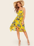 Tropical Print Asymmetric Hem Cami Dress