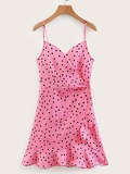 Knot Side Ruffle Trim Polka Dot Cami Dress