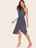 70s Polka Dot Asymmetrical Hem Dress