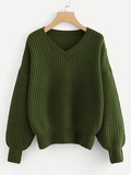 V Neck Drop Shoulder Sweater